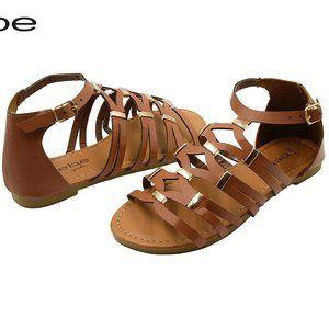 BEBE Girls Gladiator Style Ankle Strap Flat Sandal